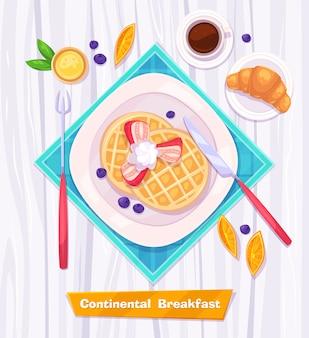 Zdrowe śniadanie z goframi, jagodami, rogalikiem, kawą i sokiem. widok z góry na stylowy drewniany stół z miejscem na kopię. ilustracja.