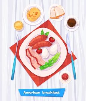 Zdrowe śniadanie z kiełbasą, bekonem, kawą, jajkami i sokiem. widok z góry na stylowy drewniany stół z miejscem na kopię. ilustracja.