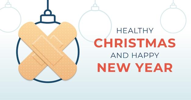 Zdrowe święta bożego narodzenia i szczęśliwego nowego roku baner piłkę koronawirusa