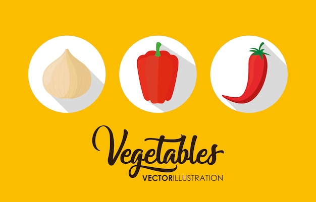 Zdrowe warzywa ikony na żółtym tle