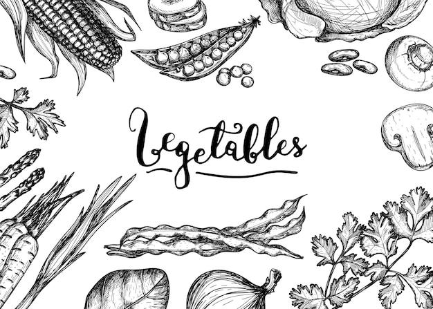 Zdrowe wegańskie jedzenie ręcznie rysowane tła
