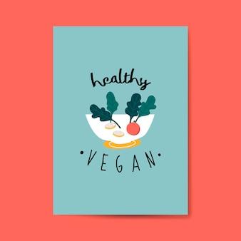 Zdrowe wegańskie karty wektor sałatka