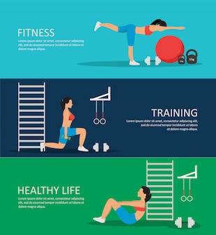 Zdrowe życie poziome banery zestaw