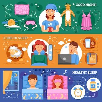 Zdrowego snu koncepcja płaskie banery zestaw