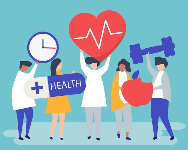 Zdrowi ludzie niosący różne ikony