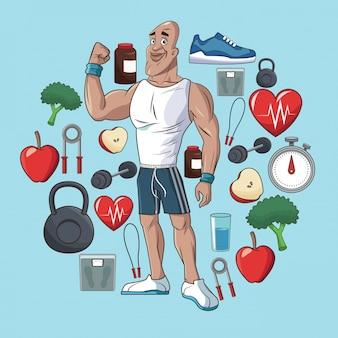 Zdrowi mężczyzna sporta jedzenia pojęcia elementy