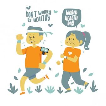 Zdrowi starsi ludzie robią cardio