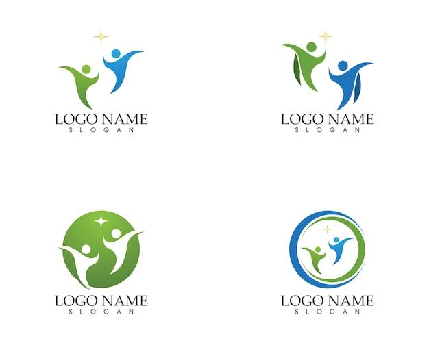 Zdrowia ludzi opieki logo szablon wektor