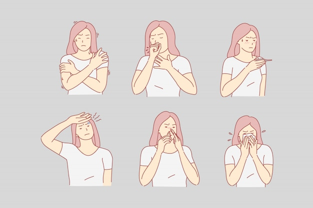 Zdrowie, ból, desease, zestaw ilustracji