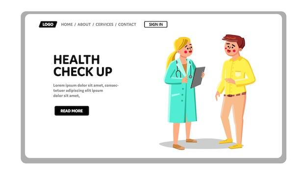 Zdrowie check up i konsultacja wektor pacjenta. medycyna sprawdzania zdrowia w szpitalu, lekarz mówi i bada młodego człowieka w klinice. znaki opieki zdrowotnej web płaskie ilustracja kreskówka