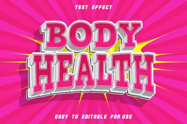 Zdrowie ciała edytowalny efekt tekstowy wytłoczony styl komiksowy