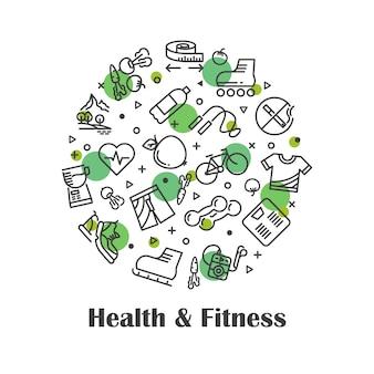 Zdrowie i fitness, ikony konspektu świeżej żywności
