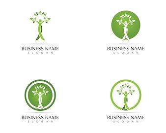 Zdrowie ludzi liść logo projekt ilustracji