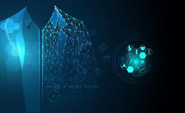 Zdrowie nauki medyczne opieka zdrowotna tło technologia cyfrowa lekarz