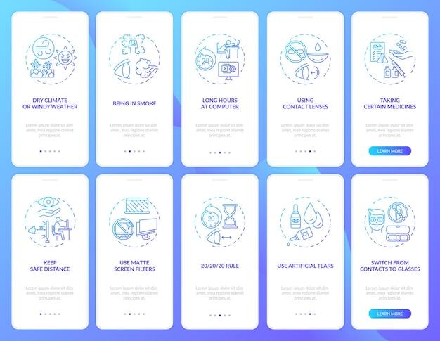 Zdrowie oczu onboarding ekran strony aplikacji mobilnej z zestawem koncepcji