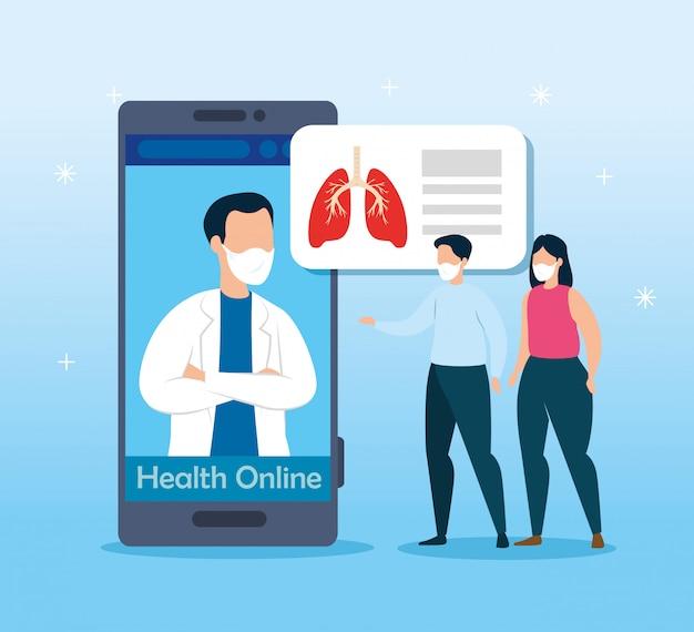 Zdrowie online technologia z wektorowym ilustracyjnym projektem