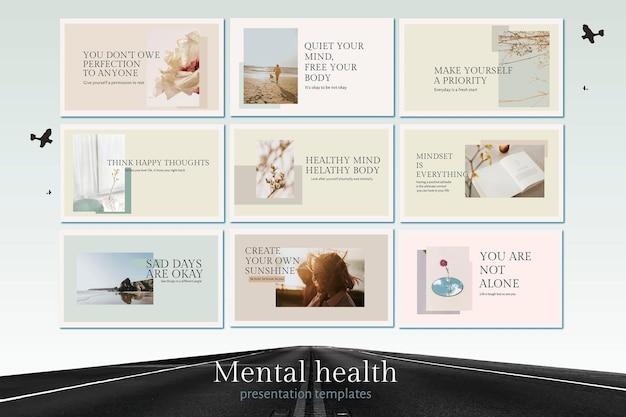 Zdrowie psychiczne szablon wektor zestaw cytat do prezentacji