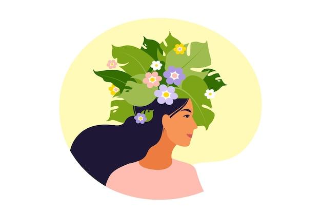 Zdrowie psychiczne, szczęście, koncepcja harmonii. szczęśliwa głowa kobiety z kwiatami wewnątrz. uważność, pozytywne myślenie, pomysł na samoopiekę. ilustracja. mieszkanie.