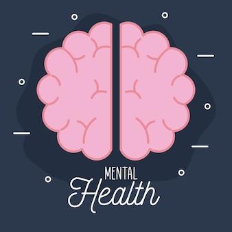 Zdrowie psychiczne z ikoną mózgu i motywem ludzkim