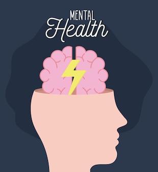 Zdrowie psychiczne z mózgiem i piorunami w głowie i ludzkim motywem