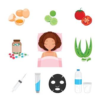 Zdrowie skóry twarzy i ciała zestaw ikon