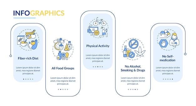 Zdrowie wątroby potrzebuje szablonu wektor infografikę. aktywność fizyczna, zakaz palenia elementów projektu prezentacji. wizualizacja danych w 5 krokach. wykres osi czasu procesu. układ przepływu pracy z ikonami liniowymi