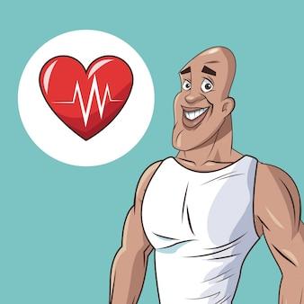 Zdrowy człowiek lekkoatletycznego bicia serca ikona