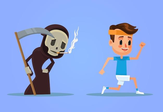 Zdrowy człowiek ucieka przed paleniem śmierci ilustracja kreskówka płaska