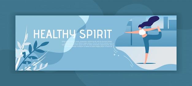 Zdrowy duch inspirujący nagłówek płaski transparent