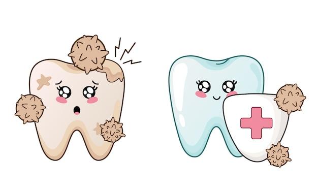 Zdrowy i bolący ząbek z kreskówki kawaii