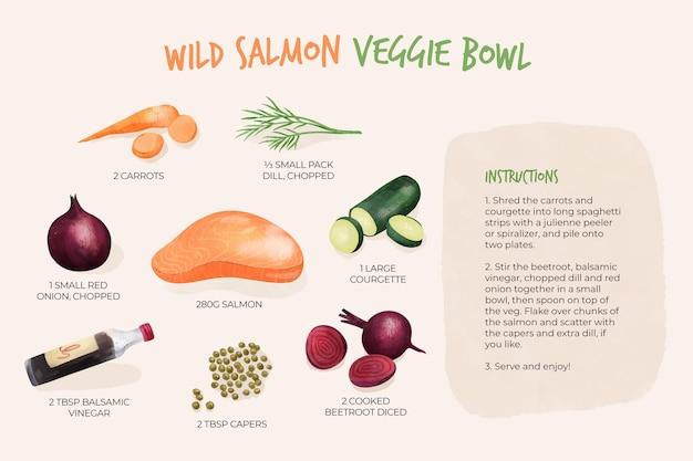 Zdrowy przepis na miskę warzywną z dzikiego łososia