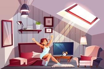 Zdrowy sen kreskówki pojęcie z szczęśliwą uśmiechniętą kobietą w nightie