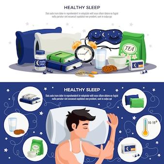 Zdrowy sen poziome bannery z młodym mężczyzną śpiącym na poduszce ortopedycznej kojące maski na herbatę książki z zaleceniami dotyczącymi zdrowego stylu życia