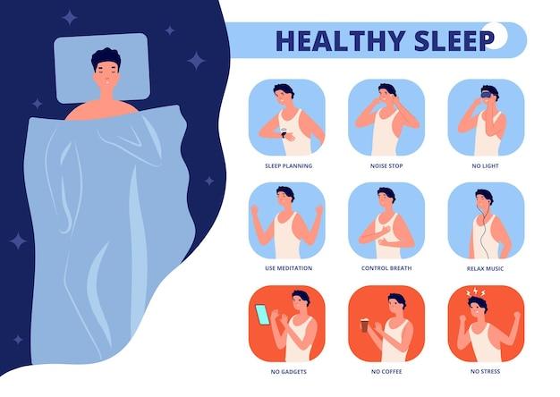 Zdrowy sen. wskazówki dotyczące dobrego snu, infografika o dobrej nocy relaksu. zasady przed snem lub wskazówki, człowiek w łóżku bezsenność ilustracji wektorowych. porady zalecają lepszy sen i sen, bez stresu