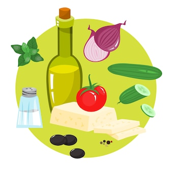 Zdrowy składnik smacznego jedzenia. ogórek i oliwa z oliwek