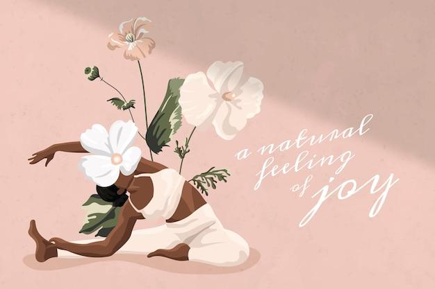Zdrowy styl życia cytat wektor szablon trening kobiety różowy kwiatowy minimalny baner