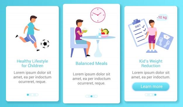 Zdrowy styl życia dla dzieci na pokładzie szablonu ekranu aplikacji mobilnej. zrównoważone posiłki. przewodnik po witrynie z płaskimi postaciami. koncepcja interfejsu kreskówki smartfona ux, ui, gui