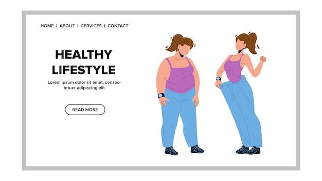 Zdrowy styl życia dla schudnąć wektor kobieta. gruba i szczupła dziewczyna po zdrowej diecie i treningu sportowym pokazują silne dopasowanie sylwetki. postać z nadwagą i atletyczna sylwetka web płaskie kreskówka ilustracja