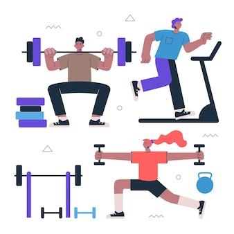 Zdrowy styl życia fitness i ćwiczenia uliczne ćwiczenia sportowe ilustracja siłowni i treningu cardio