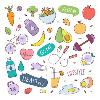 Zdrowy styl życia ładny ręcznie rysowane elementy ilustracji