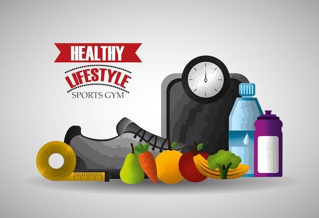 Zdrowy styl życia sport, siłownia, jedzenie i sprzęt