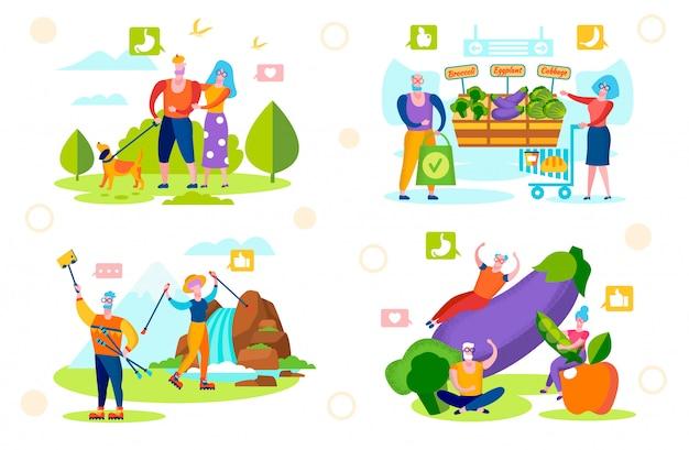 Zdrowy styl życia starszych ludzi. chodzenie, ekologiczne jedzenie