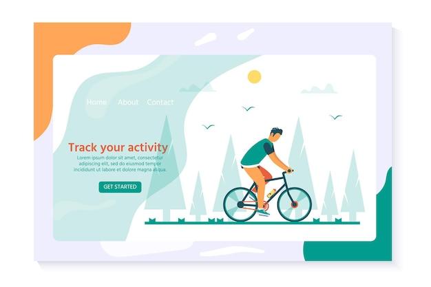 Zdrowy styl życia z charakterem jeżdżącym na rowerze. projekt strony docelowej do jazdy na rowerze. nowoczesna koncepcja ilustracji wektorowych dla stron internetowych. interfejs użytkownika ux, szablon ekranu interfejsu użytkownika dla smartfona mobilnego.