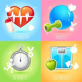 Zdrowy styl życia zachować dopasowanie schudnąć zestaw na białym tle ilustracji wektorowych