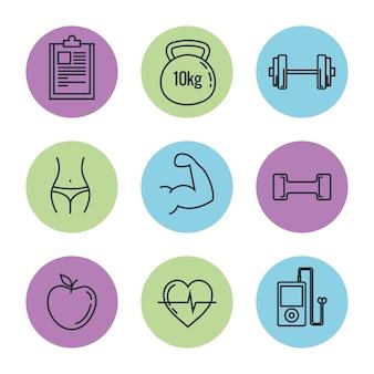 Zdrowy styl życia zestaw ikon