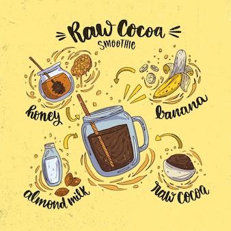 Zdrowy surowy koktajl z kakao