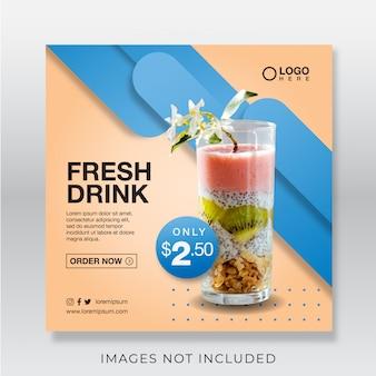 Zdrowy świeży sok z baneru dla szablonu postu w mediach społecznościowych