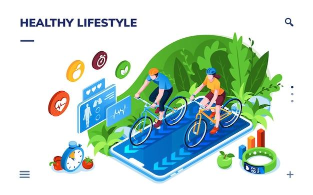 Zdrowy tryb życia lub trening sportowy, monitor aktywności online, izometryczny ekran aplikacji do śledzenia zdrowia sportowca.