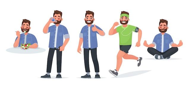 Zdrowy tryb życia. mężczyzna je pożyteczne jedzenie, pije wodę, trenuje i biegnie, ćwiczy jogę.