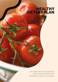 Zdrowy wegański szablon stylu życia marketingu żywności plakat